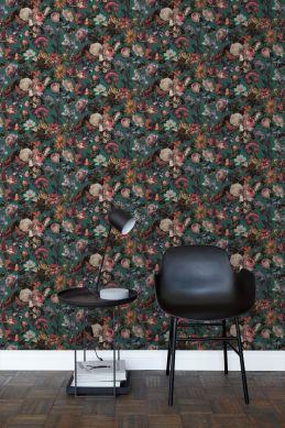 vardagsrum tapet blommor smaragdgrönt 139171