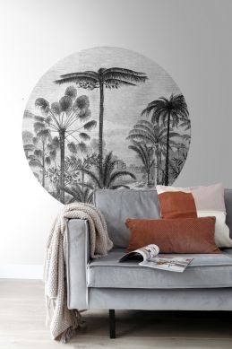 vardagsrum självhäftande rund tapet tropiskt landskap med palmer  svart och vitt 159006
