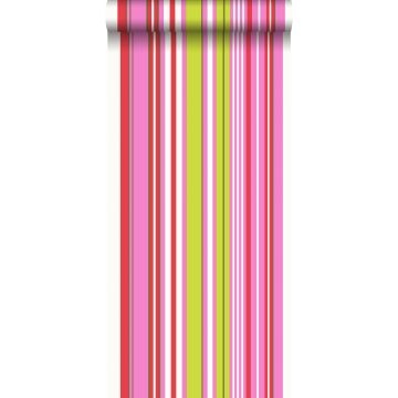 tapet ränder limegrönt och rosa