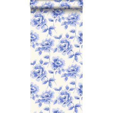 tapet akvarellmålade rosor klarblått