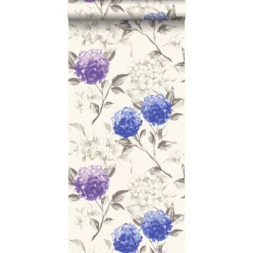 tapet hortensior djupblått och lila