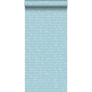 tapet handskrivna blomnamn på latin ljust azurblått