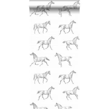 tapet pennteckning hästar svart på vitt