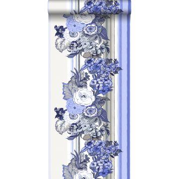 tapet vintage blommor indigoblått