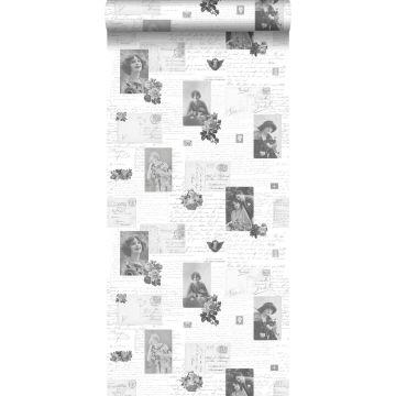 tapet vintage vykort svart och vitt