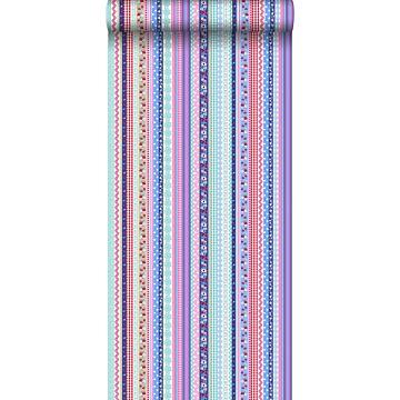 tapet band ljusblått och rosa