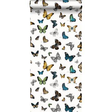 tapet fjärilar ockra, grönt och brunt
