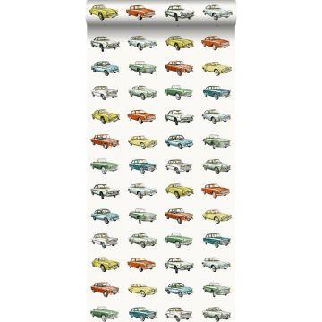 tapet vintage bilar orange, ockra och grönt