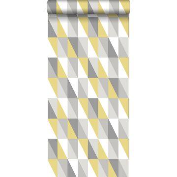 tapet grafiska trianglar ockra och grått