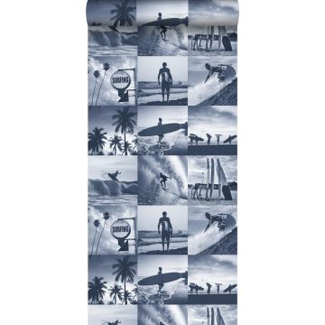 tapet bild av surfare mörkblått