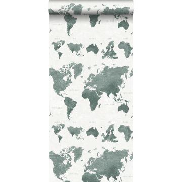 tapet vintage världskartor grågrönt