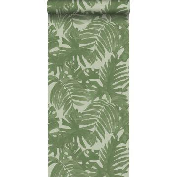 tapet tropiska blad gråaktigt olivgrönt