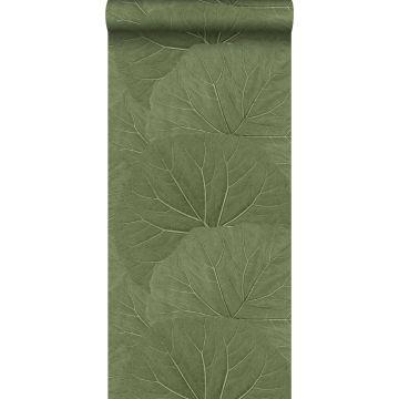 tapet stora blad gråaktigt olivgrönt