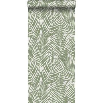 tapet palmblad gråaktigt olivgrönt