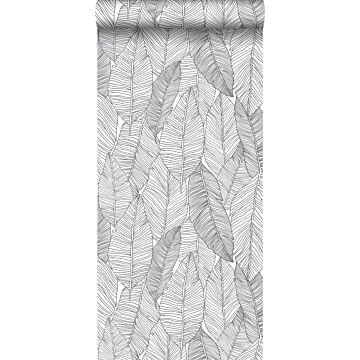 tapet handmålade blad svart och vitt