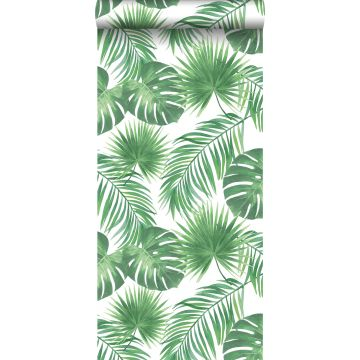 tapet tropiska blad grönt