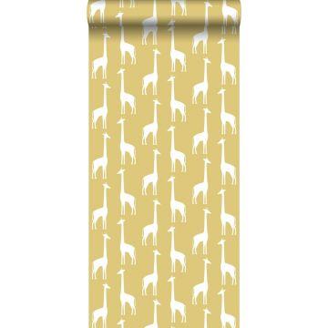 tapet giraffer ockra