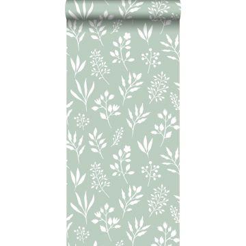 tapet blommönster i skandinavisk stil mintgrönt och vitt