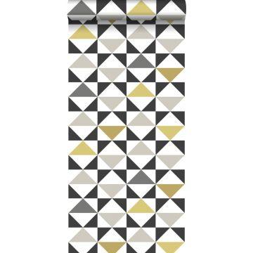tapet grafiska trianglar vitt, svart, grått och ockra
