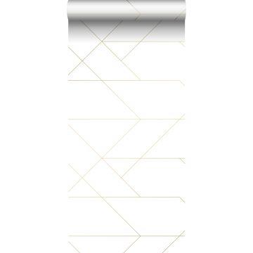 tapet grafiska linjer vitt och guld