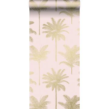 tapet palmer milt rosa och guld