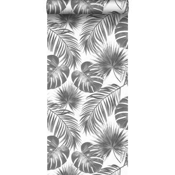 tapet tropiska blad svart och vitt