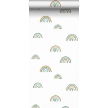 tapet regnbågar vintage gråblått, ljusblått och beige