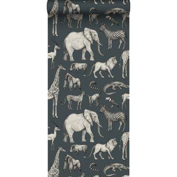 tapet djungeldjur vintage gråblått och grått