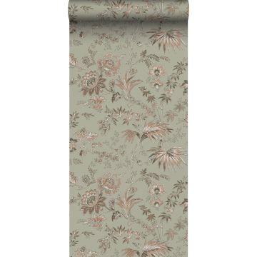 tapet vintage blommor gråaktigt mintgrönt och milt rosa