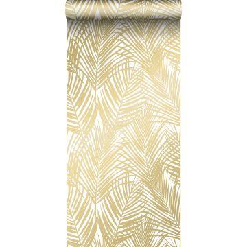 tapet palmblad guld och vitt
