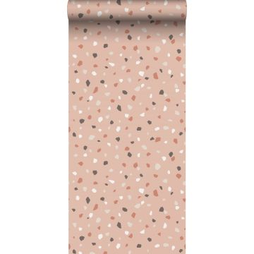 tapet terrazzo milt rosa, vitt och grått