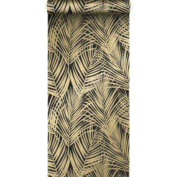tapet palmblad svart och guld