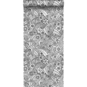 tapet pennteckning av blommor svart och vitt