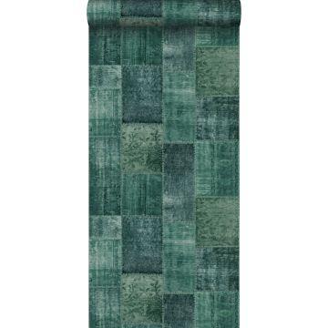 tapet orientalisk matta med Marrakech Kelim-lapptäckesmönster smaragdgrönt