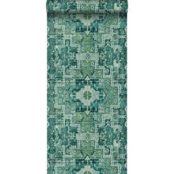 tapet orientalisk kelim lapptäcksmatta smaragdgrönt