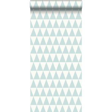 tapet grafiska geometriska trianglar mintgrönt och matt vitt
