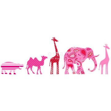 tapet bård XL djur rosa