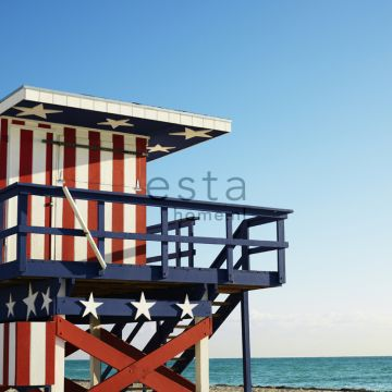 fototapet strandhus rött, vitt och blått
