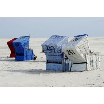 fototapet strandstol blått och beige