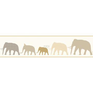 tapet bård XL elefanter beige