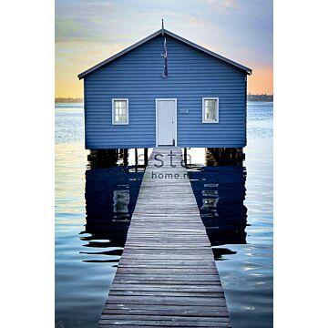 fototapet strandhus blått, grått och aftonrodnadsrött