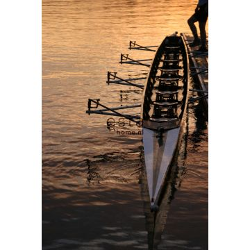 fototapet roddbåt i solnedgången brunt och orange