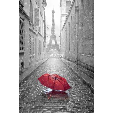 fototapet Paris svart-vitt-rött paraply grått och rött