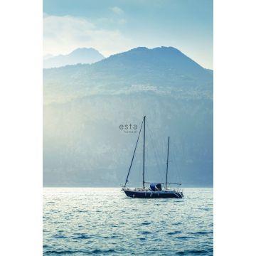 fototapet segelbåt blått