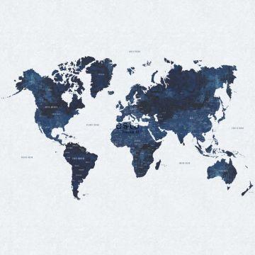 fototapet vintage världskarta blått