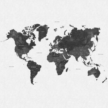 fototapet vintage världskarta gråaktigt svart