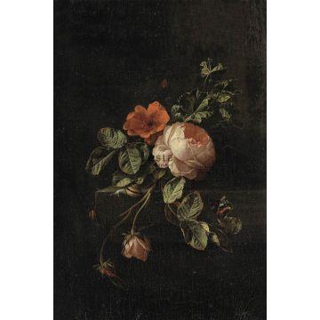 fototapet stilleben med blommor mörkrött och svart