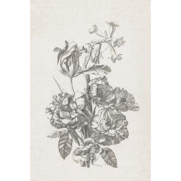 fototapet stilleben med blommor svart och vitt