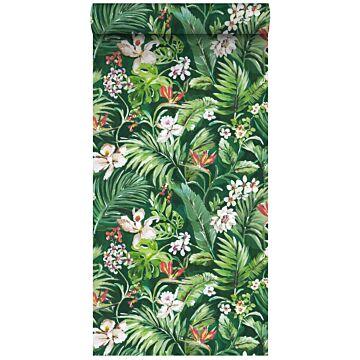 tapet XXL tropiska blad and blommor smaragdgrönt