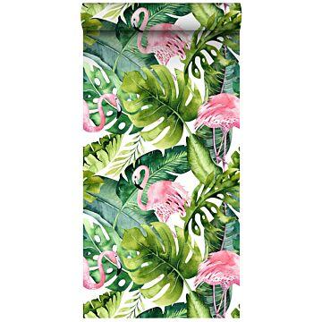 tapet XXL tropiska blad med flamingos grönt och rosa